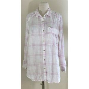 Free People No Limits Plaid Shirt  Size Medium